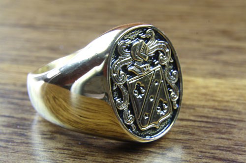 Wappenring Lilien Ritter Adels Wappen Ring Gold Plated