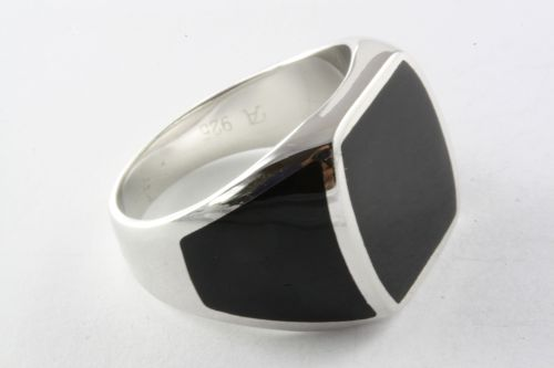 Solid Men/'s Ring Black Stone Seal Ring Silver Ring 925 Silver //441